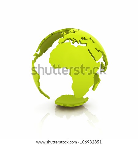 Illustration of green Earth shell on reflective background