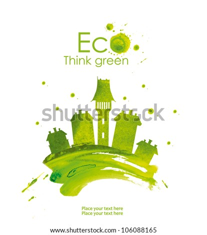 Illustration of green town, hand drawn from watercolor stains, isolated on a white background. Think Green. Eco Concept.