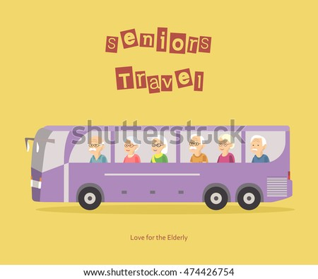 Illustration of group happy seniors people travel by bus. Concept of active elderly during retirement. Old woman man traveling banner.