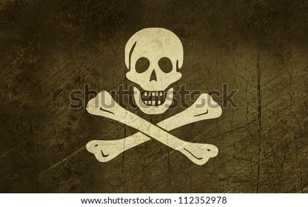 Illustration of grunge jolly roger or skull and cross bones pirate flag.