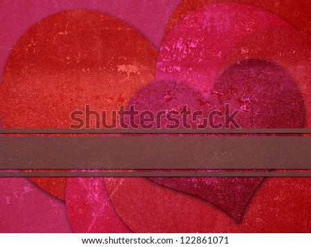 Illustration of grunge metal hearts with ribbon background.