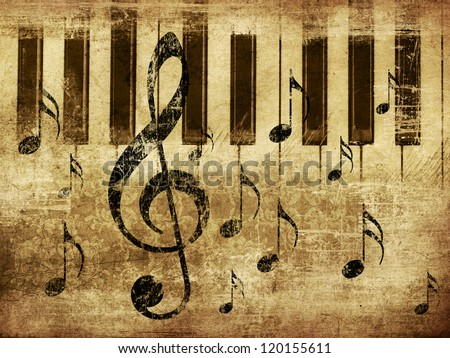 Illustration of grunge retro musical background with music notes and piano.