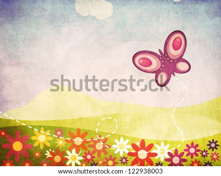 Illustration of grunge summer landscape with flowers and butterfly background.