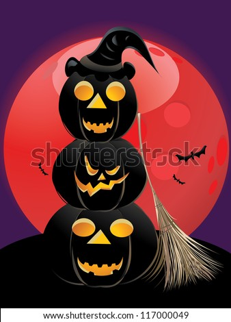 Illustration of halloween pumpkins silhouettes with red moon background.