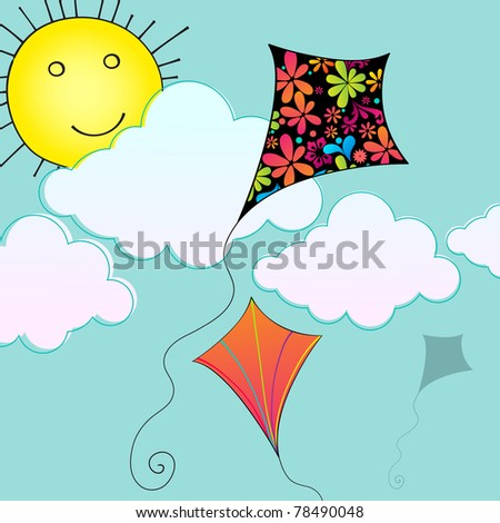 Illustration of hand drawn style cute kites flying in the sky