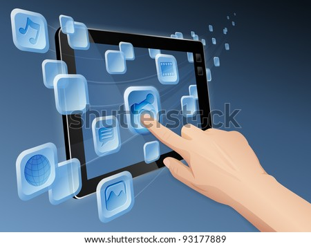 Illustration of hand pressing a flowing share icon to share media to web with modern cloud integrated tablet computer.