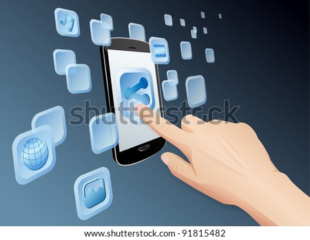 Illustration of hand pressing a share icon to share media to web with modern touch screen mobile phone