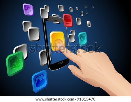 Illustration of hand pressing a web app icon on cloud integrated touch screen mobile phone