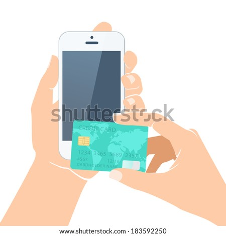 Illustration of  Hands holding credit card and smartphone