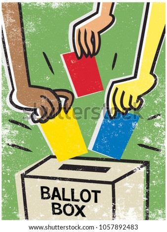 illustration of hands posting voting cards into a ballot box.