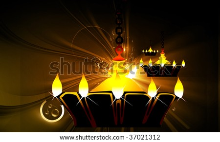 Illustration of hanging golden divine lamp in floral background