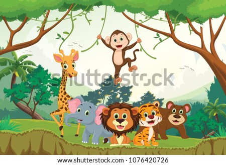 illustration of happy animal in the jungle #1076420726