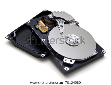 Illustration of Hard disk drive HDD isolated on white background with soft shadow.