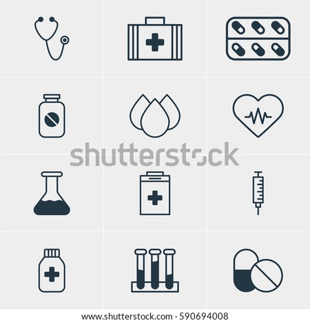 Illustration Of 12 Health Icons. Editable Pack Of Pulse, Heart Rhythm, Experiment Flask And Other Elements.