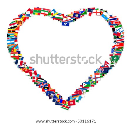 Illustration of heart made from world flags, illustration