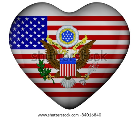 Illustration of heart with flag and coat of arms of united states