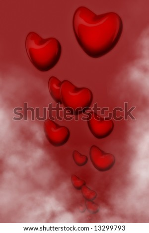Illustration of hearts flying through the clouds