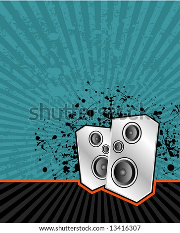 illustration of high powered speakers on an acid grunge background