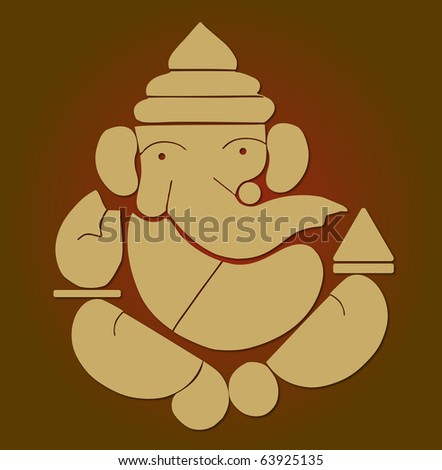 illustration of Hindu God Ganesh on maroon background