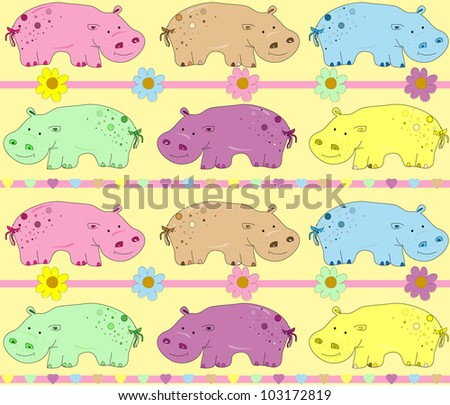 illustration of hippos background - stock photo