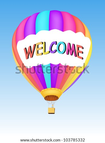 illustration of hot air balloon with text Welcome in a sky