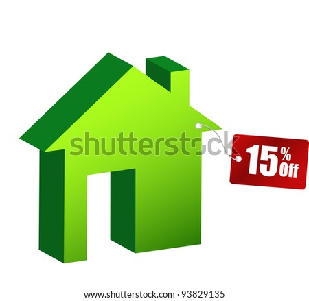 illustration of house with discount tag over white