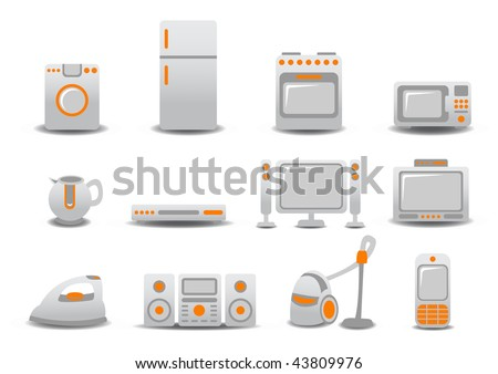illustration of Household Appliances icons. You can decorate your website, application or presentation with it.