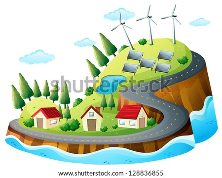 Illustration of houses, vanes and solar energy