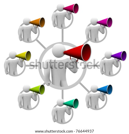 Illustration of how making one person sharing information can spread through a gossip network of many people spreading a rumor