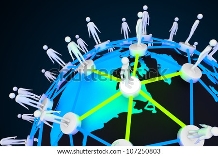 illustration of human around globe showing social networking