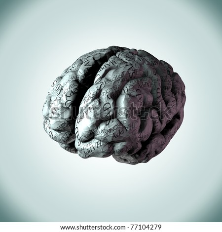 Illustration of human brain made from crumpled paper with emotional text wrapped around it. Illustrating human thoughts, feelings and emotions.