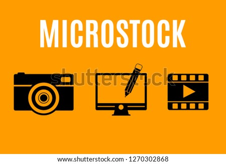 illustration of icons about microstock
