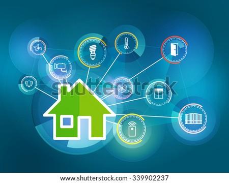 illustration of icons symbolizing the smart home