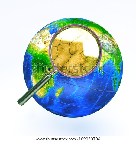 illustration of image of dry earth view through magnifying glass