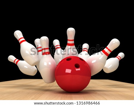 illustration of image of scattered skittle and bowling ball on wooden floor. 3D rendering illustration