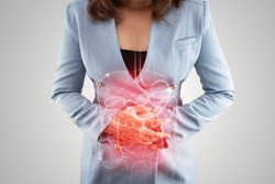 Illustration of internal organs is on the woman's body against the gray background. Business Woman touching stomach painful suffering from enteritis. internal organs of the human body. IBS