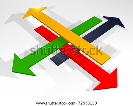 illustration of intertwined arrows of colors - stock photo