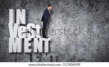 Illustration of investment and finance strategy concept with business person