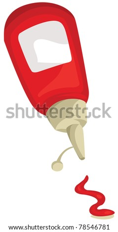 illustration of isolated a bottle of ketchup on white