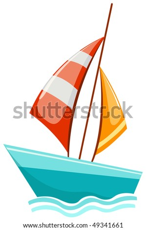 illustration of isolated a sailboat gliding over the waves on white
