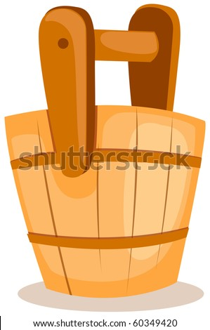 illustration of isolated a wooden bucket on white background