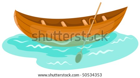 illustration of isolated a wooden canoe on white background - stock photo