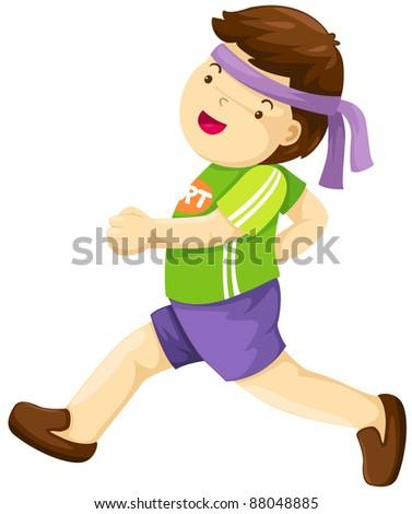 illustration of isolated boy running  on white background