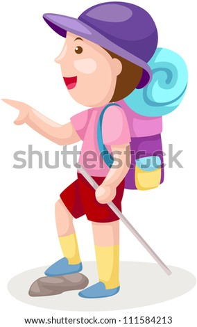 illustration of isolated boy with backpack on white