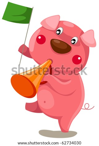 illustration of isolated cartoon pig with loudspeaker