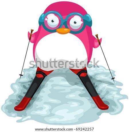 illustration of isolated cartoon skiing penguin