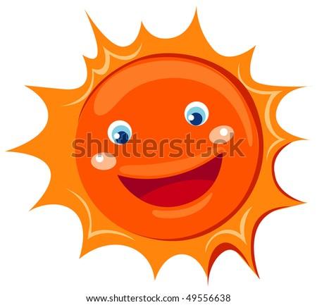illustration of isolated cartoon sun on white background