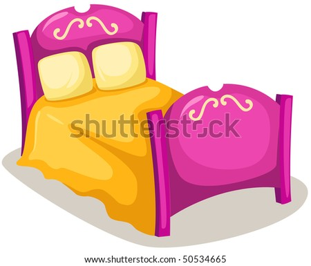 illustration of isolated children bed on white background