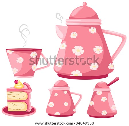 illustration of isolated coffee set or tea set and cup cake