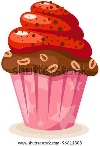 illustration of isolated colorful cup cake on white